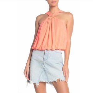 Free People Coral Just a Fling Halter Tank Top NWT